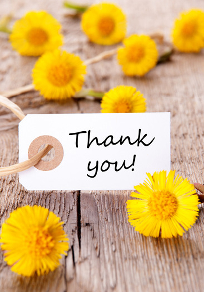 Yellow Flowers with Thank You